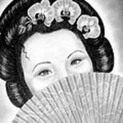 Mysterious - Geisha Girl With Orchids And Fan Poster