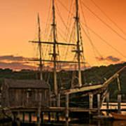 Mystic Seaport Sunset-joseph Conrad Tallship 1882 Poster