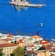 Nafplio And Bourtzi Fortress Poster