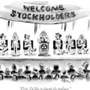 Naked Speakers On Stage At Stockholders Meeting Poster
