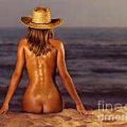 Naked Woman Sitting At The Beach On Sand Poster