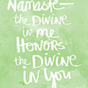 Namaste Green And White Poster by Linda Woods