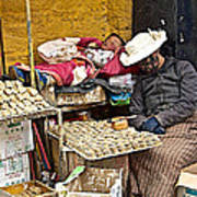 Nap Time For Child And Street Shopkeeper In Lhasa-tibet   Poster