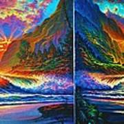 Napali Cliff's Sunset - Diptych Poster by Joseph   Ruff