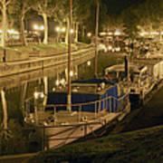 Narbonne France Canal De La Robine At Night Dsc01657  Poster