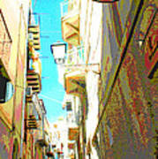 Narrow Street Cefalu Italy Digital Art Poster