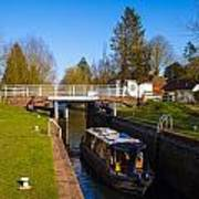 Narrowboat In Lock Poster