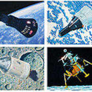 Nasa Manned Spacecraft Of The 1960's. Poster