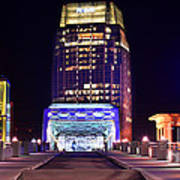 Nashville Sight Night Skyline Pinnacle Panorama Color Poster by Jon Holiday