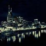 Nashville Skyline Reflected At Night Poster