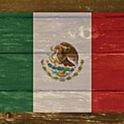 Mexico National Flag On Wood Poster