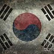 National Flag Of South Korea Desaturated Vintage Version Poster