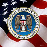 National Security Agency - N S A Emblem Emblem Over American Flag Poster