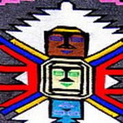 Native American Grey White Quilt Detail Poster