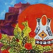 Native American Wedding Vase And Cactus Poster