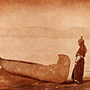 Native American Woman With Canoe Poster