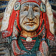 Native American Wood Carving Poster