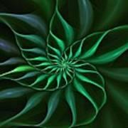 Nautilus Fractalus Verdant Green Poster