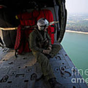 Naval Aircrewman Surveys The Gulf Poster