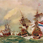 Naval Battle Off Texel A French Fleet Poster