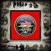 Naval Special Warfare Development Group - D E V G R U - Emblem Over Navy S E A Ls Collage Poster