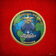 Naval Special Warfare Group Four - N S W G-4 - On Red Poster