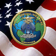 Naval Special Warfare Group Four - N S W G-4 - Over U. S. Flag Poster