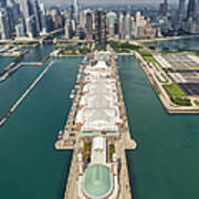 Navy Pier Chicago Aerial Poster by Adam Romanowicz