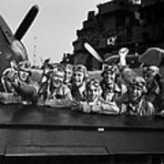 Navy Pilots Celebrate On The Uss Poster