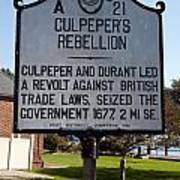 Nc-a21 Culpepers Rebellion Poster