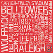 Nc State College Colors Subway Art Poster