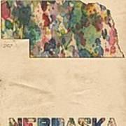 Nebraska Map Vintage Watercolor Poster