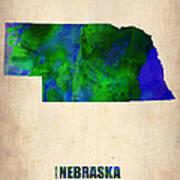 Nebraska Watercolor Map Poster by Naxart Studio