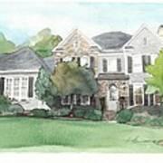 Neighbors House Watercolor Portrait Poster