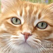 Yellow Cat Digital Art Poster
