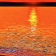 Neon Beach Sunset Poster
