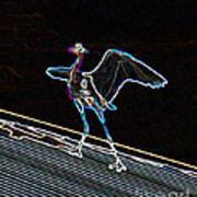 Neon Blue Heron Poster