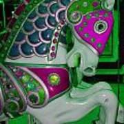 Neon Green Carousel Horse Poster