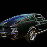 Neon Mustang Fastback 1967 Poster