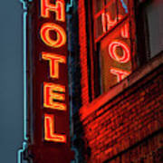 Neon Sign For Hotel In Texas Poster