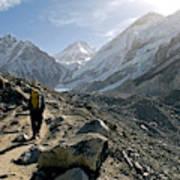 Nepal A Trekker On The Everest Base Poster