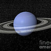 Neptune And Its Rings Against A Starry Poster by Elena Duvernay