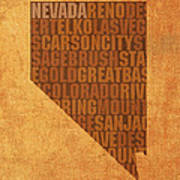 Nevada Word Art State Map On Canvas Poster