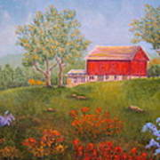 New England Red Barn Summer Poster