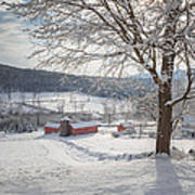 New England Winter Farms Morning Poster