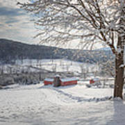 New England Winter Farms Morning Square Poster