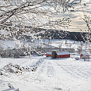 New England Winter Farms Square Poster