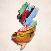 New Jersey Map Art - Painted Map Of New Jersey Poster