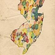 New Jersey Map Vintage Watercolor Poster