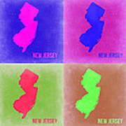 New Jersey Pop Art Map 2 Poster
